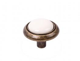 Knob Gipa old brass/porcelain white + screws