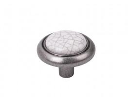 Knob Gipa nickel patina/porcelain cracked + screws