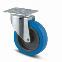 TENTE Swivel castop 3470 blue rubber tread, O 100 mm, without brake