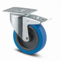 TENTE Swivel castop 3477 blue rubber tread, O 100 mm, with brake