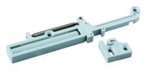 External stop buffer for roller bearing slide